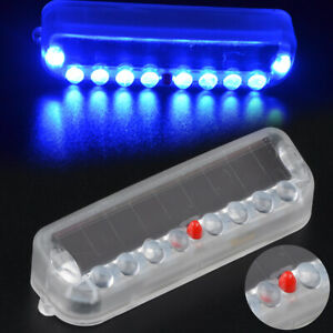 Blue Solar Wireless Led Car Dash Strobe Lights Flash Emergency Warning Lamp Abs