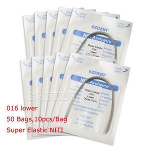 50 Bags Dental Niti Orthodontic Super Elastic Archwire Round Wire 016 Lower Sino