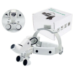 Surgical 2 5x420mm Led Leather Headband Head Light With Loupes Dy 105 White Ent