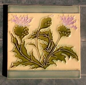 French Arts And Crafts Majolica Tube Lined Raised Lined Thistle Tile