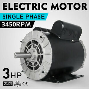 Cm03256 Electric Motor 3 Hp 1 Phase 3450rpm 5 8 shaft Dripproof Rigid Base 60 Hz