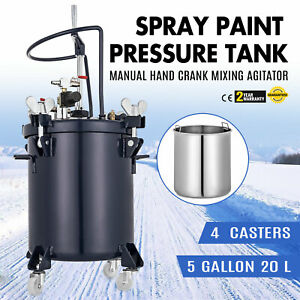 5 Gallon 20l Spray Paint Pressure Pot Tank 1 4 Air Inlet 20 Liters Roll Caster