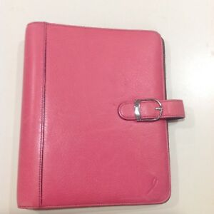 Pink Leather Day Planner Personal Desk Size Organizer Notebook 8x9 5 Inch