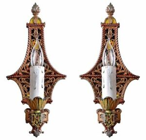 Antique Polychrome Single Candle Sconce Pair With Floral Motif