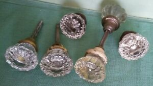 Lot Of 6 Vtg Glass Door Knobs