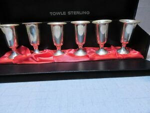 Towle Sterling Silver Cordial Liquor Cups Shot Glasses Set Of 6 Display Box 58