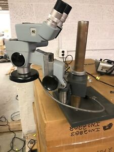 American Optical Microscope W Boom Stand