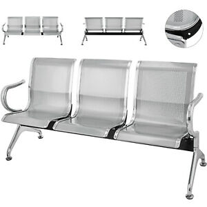 3 seat Steel Waiting Room Chairs Guest Reception Bench Blue Business Barber