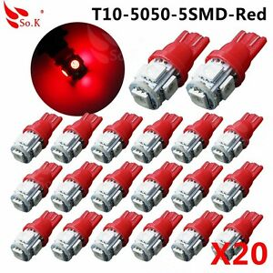 20pcs Ultra Red T10 W5w 5050 5 Smd Interior Package Led Light Bulbs 194 168