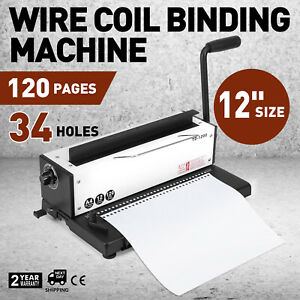 All Steel Manual Spiral Coil Binding Machine 34 Holes Puncher Office Paper