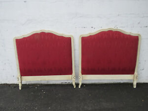 French Twin Size Painted Pair Of Headboards With Upholstery 9191