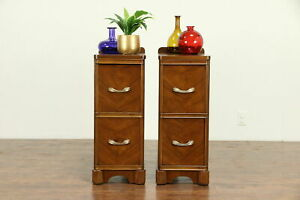 Pair Of Art Deco 1930 S Vintage Walnut Nightstands Original Pulls 30493