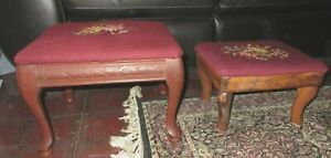Pair Of Vintage Needle Point Wooden Foot Stools