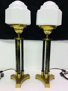 Pair Vintage Art Deco Table Lamps Column Style W Wedding Cake Skyscraper Shades
