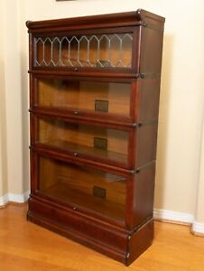 Antique Globe Wernicke 4 Stack Leaded Glass Mahogany Barrister Lawyers Bookcase