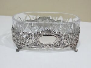 Vintage Art Deco Sterling Silver Crystal Footed Oval Bowl