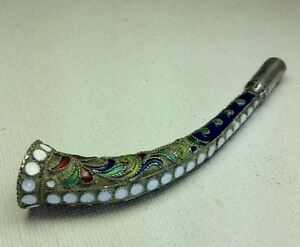 Antique Russian 916 Sterling Silver Cloisonn Enamel Cigarette Holder Pipe 3