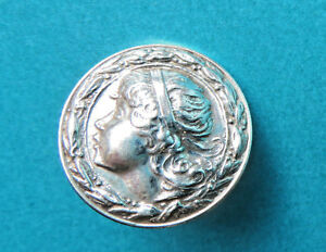 Antique Solid Sterling Silver Button Girl Head Leaf Berry Edge Dated 1859