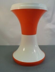Italy Vtg Mid Century Modern Action Orange White Stool Chair Table Eames Era