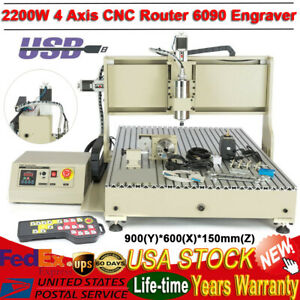Usb 4 Axis Cnc Router Kit 6090 2200w Milling Carving Engraving Machine handwheel