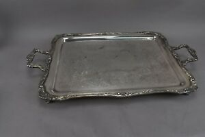 Vintage Silver Plated Footed Handle Ornate Design Rectangle Butler Serving Tray