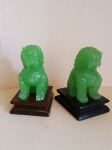 Old Green Jade Jadeite Chinese Foo Dog Lion Beast Hand Carve Figure Statue Stand