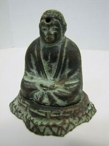 Old Buddha Incense Burner Figural Cast Metal Bronze Wash Small Detailed 2pc