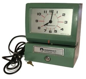 Acroprint Time Recorder Electric Punch Time Clock W key clean Works made In Usa