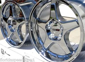 C4 Zr1 Chrome Corvette Wheels Fits 1988 1996 C4 17x9 5 Wheel Set