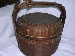 Antique Primitive Covered Wicker Wedding Sewing Basket With Handle