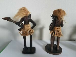 Guitar And Drums Duo Tribal Wood Figures Vintage Hawaiian Tiki Hair Hand Carved
