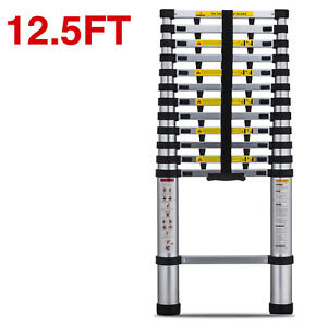 En131 12 5ft Telescopic Extension Aluminum Step Ladder Folding Multi Purpose