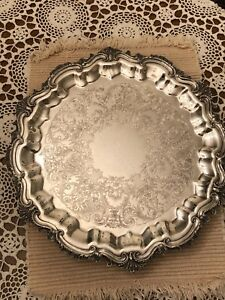 Wilcox International Silver Co Footed Serving Tray 28 7 15in Silverplate