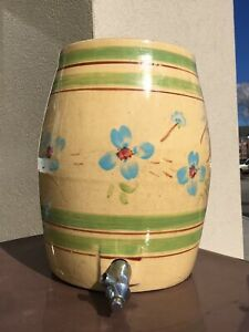 Rare Antique Pottery Stoneware Crock Water Cooler Ohio Hand Painted Flowers