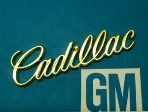 Nos 80 96 Cadillac Gold Trunk Script Emblem Ornament Flip Lid Vogue E