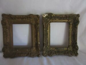 Pair Wood Gesso Matching Hand Carved Small Picture Frames 9 By 7 In