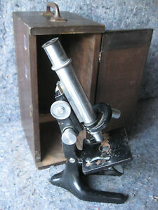 Vintage Bausch Lomb Microscope With Wood Case 2 Objectives 10x 43x