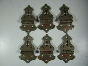 Six Antique Nickle On Brass Ice Box Or Refrigerator Door Style Hinges