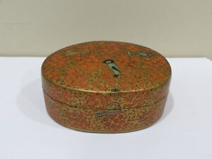 Antique Japanese Hand Painted Small Lacquer Wood Box