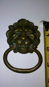 Vintage Lion Head Cast Brass Drawer Pull Ring Very Nice