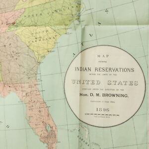 Antique Map Of Indian Reservations In United States Vtg 1896