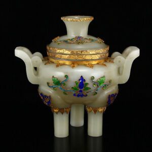 Chinese Hetian Jade Inlay Gold Wire Enamel Incense Burner