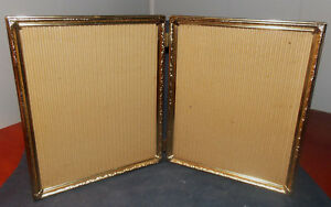 Vintage Detailed Brass Metal 8 X 10 Double Picture Frame Weighs 2 Pounds