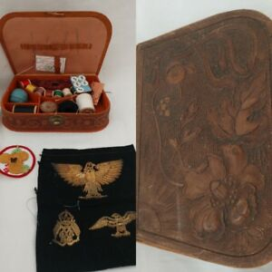 Antique Leather Sewing Box And Original Contents Threads Needles Sampler