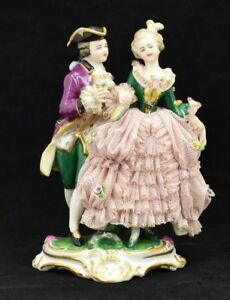 Frankenthal Dresden Germany Porcelain 513 Victorian Man And Woman Lace Figurine