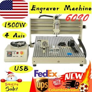 Usb 4axis 6090 Router Engraver Milling Machine 1500w Vfd Spindle Motor Engraving