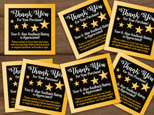 25 50 100 200 500 1000 Ebay Thank You For Your Purchase Stickers Labels Gold