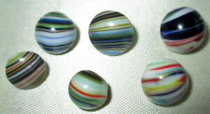Pretty Lot 6 Unique Antique Vintage Colorful End Of Day Striped Glass Buttons