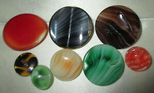Lot 8 Antique Vintage Striped Glass Buttons Shapes Colors Moonglow