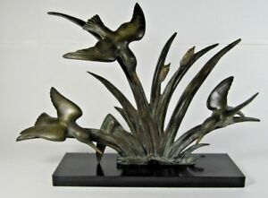 French Art Deco Signed Limousin Real Bronze Figure Statue Marble Base Sculpture